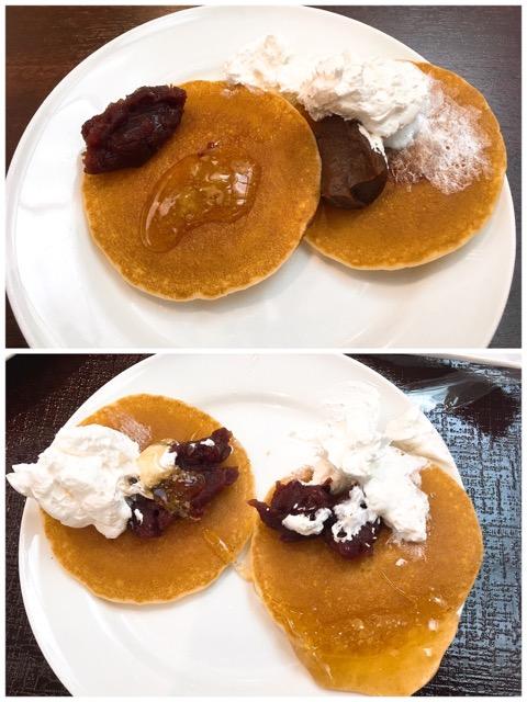 パンケーキあんこ蜂蜜クリームホイップ