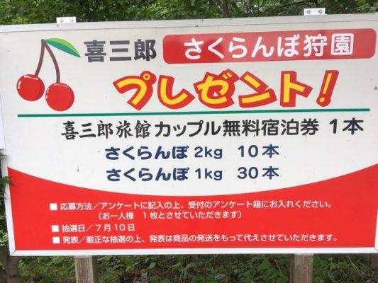 喜三郎さくらんぼ狩園プレゼント