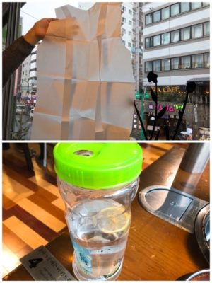紙エプロンとレモン水