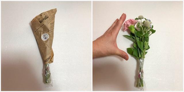 花は親指から人差し指くらいの大きさ